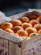 Wooden Box With Fresh Oranges