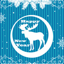 Colorful New Year Postcard  Wi...