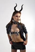 Brunette Girl With Horns