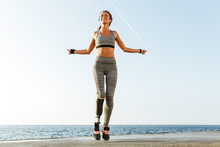 Disabled Sports Woman Jumping ...