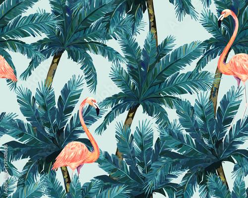 ezgotyczny-letni-motyw-z-powtarzajacymi-sie-flamingami-i-tropikalnymi-roslinami-ilustracja-wektorowa-akwarela