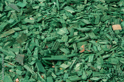 Decorative wood chips  Natural bright green colored wooden