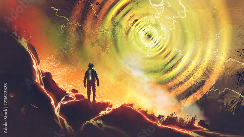 Poster UFO sci-fi scene showing the man discovers powers of electricity energy ball, digital art style, illustration painting