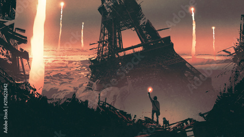Spoed Foto op Canvas Grandfailure post-apocalyptic scenery showing a man and a dog standing on city ruins, digital art style, illustration painting