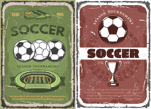 Vintage grunge soccer game posters © Vector Tradition