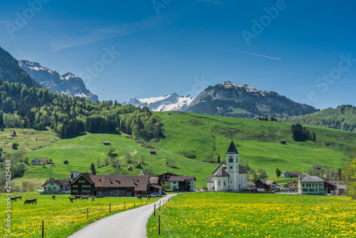 Canvas Prints Alps Swiss, Appenzell, Weissbad valley view
