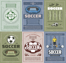 Soccer And Football Sport Retro Grunge Posters