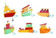 Flat Vector Set Of Small Woode...