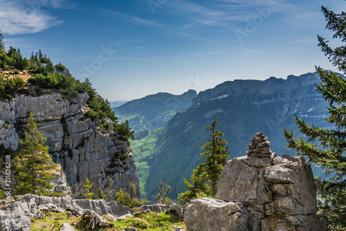 Wall Murals Blue jeans Swiss, Alps panorama view