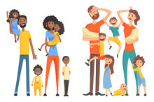 Young Afro-American And Caucasian Family. Cheerful And Tired Parents With Children. Funny Little Kids And Newborns. Flat Vector Design
