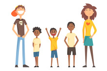 Caucasian Couple And Three Afro-American Teenager Boys. Happy Interracial Family. Young Parents With Children. Flat Vector Design