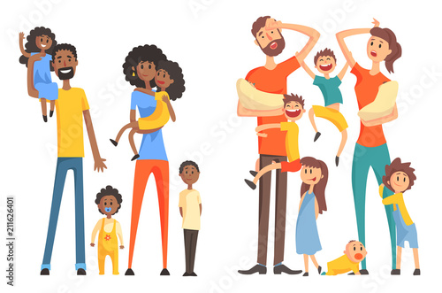 Canvastavla Young Afro-American and caucasian family