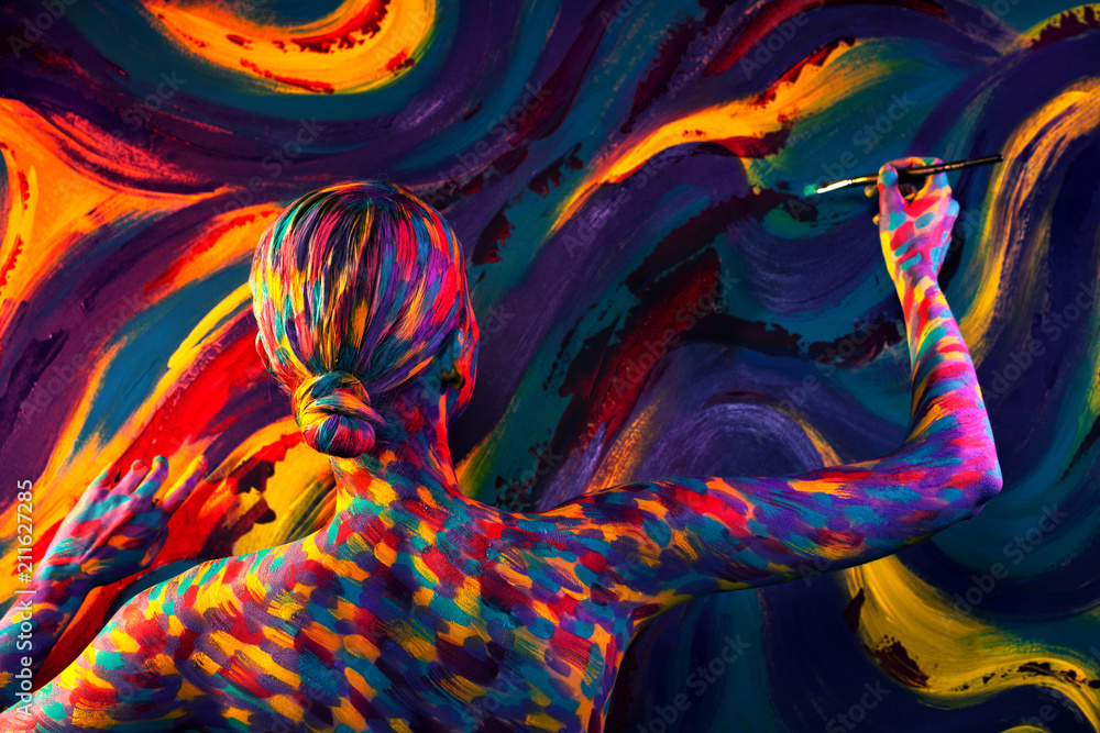 Fototapety, obrazy: Portrait of the bright beautiful woman with art colorful make-up and bodyart