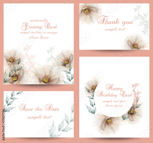 Fototapeta Watercolor Flowers Blossom Card Set Vector Vintage Greeting Cards Wedding Invitation Thank You Postcard Summer Floral Decoration