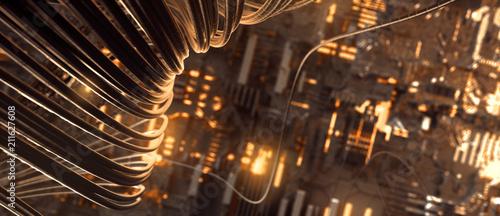 Kabel vor technischem Hintergrund