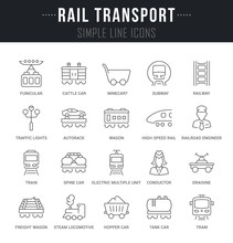Set Vector Line Icons Of Rail ...