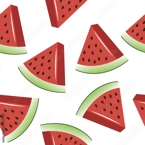 Poster Retro sign bright slices of watermelon pattern