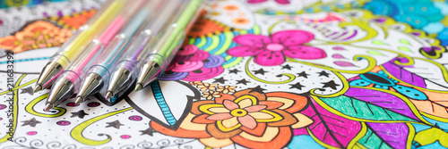 Fotografering Adult coloring book, new stress relieving trend