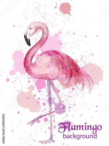 Canvas Print Vintage Flamingo watercolor card Vector. Hand made design decors