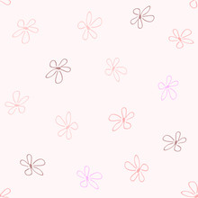 Repeating Primitive Flowers Drawn By Hand. Cute Floral Seamless Pattern. Sketch, Doodle, Scribble. Endless Print For Girls.