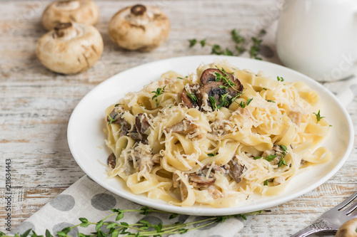 Fetuchini alfredo with mushrooms and chicken ham in creamy cheese sauce Wallpaper Mural