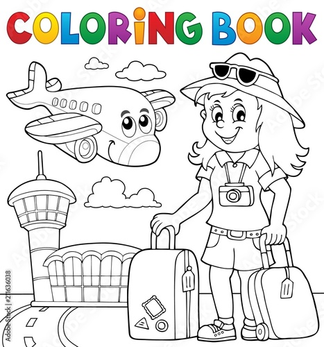 Recess Fitting For Kids Coloring book tourist woman theme 2