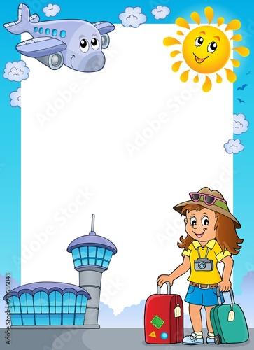 In de dag Voor kinderen Tourist woman theme frame 1
