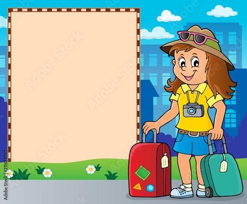 In de dag Voor kinderen Tourist woman theme frame 2