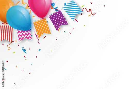 Fotografia Celebration background with colorful bunting flags and balloons