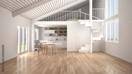 Obraz Minimalist open space, white kitchen with mezzanine and modern spiral staircase, loft with bedroom, concept interior design background, architect designer idea - fototapety do salonu
