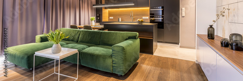 Fototapeta Green, corner sofa, coffee table with flowers in a living room interior with a dark kitchen in the background obraz