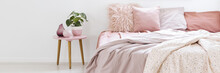 Real Photo Of A Small Table With A Plant Standing Next To A Bed With Pink Bedding In Bedroom Interior With White Walls