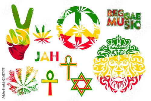 Fényképezés Set of isolated rastaman symbols