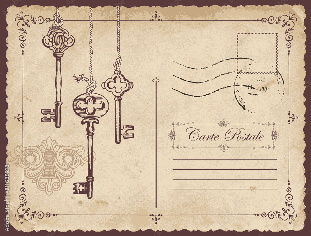 Fototapeta Retro vector postcard with old keys and keyhole, with place for text on old beige background in vintage style with rubber stamp
