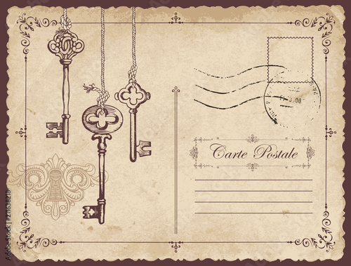 Fototapeta Retro vector postcard with old keys and keyhole, with place for text on old beige background in vintage style with rubber stamp obraz