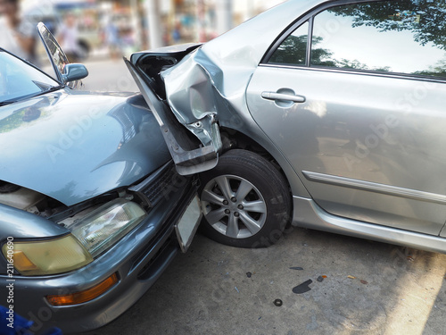 Tuinposter Snelle auto s Car crash accident on street with wreck and damaged automobiles. Accident caused by negligence And lack of ability to drive. Due to illness