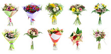 Collage Of Various Colorful Flower, Set Of Bouquets Isolated On