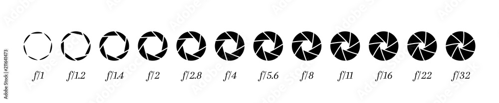 Fototapety, obrazy: Camera lens diaphragm row with aperture value numbers