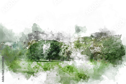 Door stickers Olive Abstract tree and field landscape on watercolor illustration painting background.