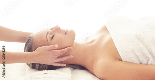 Foto op Aluminium Spa Beautiful Woman in Spa. Recreation, Energy, Health, Massage and Healing Concept.