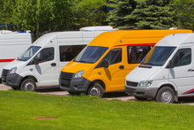 Mini Buses In The Parking Lot
