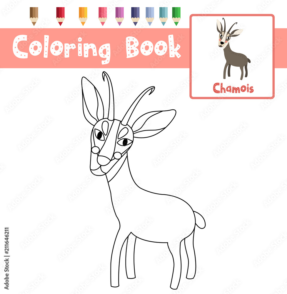 Coloring page of Standing Chamois animals for preschool kids ...