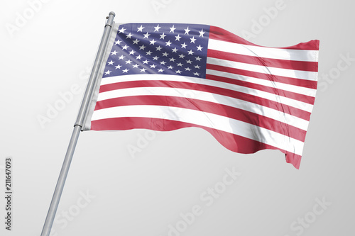 Isolated United State of America Flag waving 3d Realistic