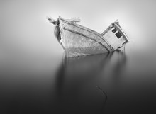 Black And White. A Wrecked Ship.