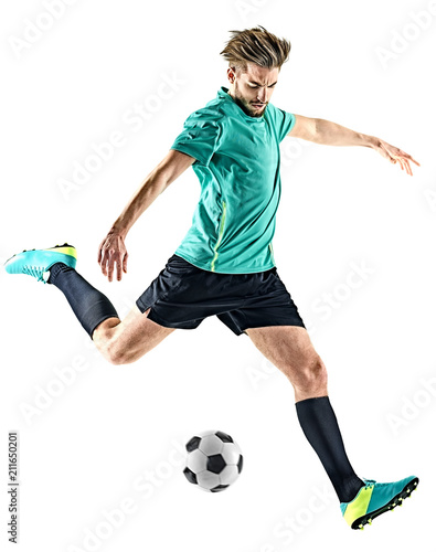 fototapeta na ścianę one caucasian soccer player man isolated on white background