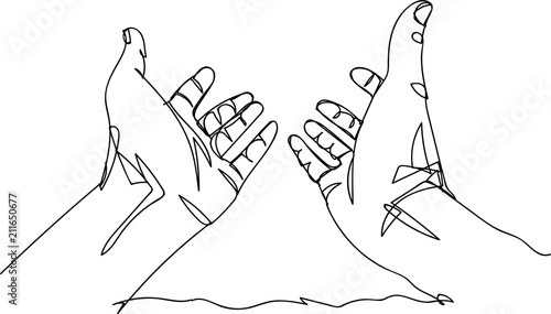 Fotografie, Obraz  Continuous line art or One Line Drawing of prayer hand.
