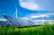 Leinwandbild Motiv Solar energy panels and windmills against blue sky on summer day