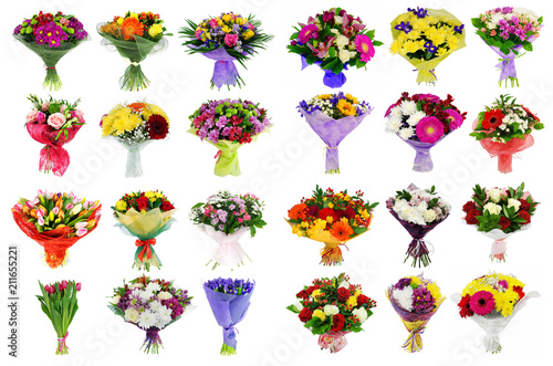 Collage of various colorful flower, set of bouquets isolated on Fototapete