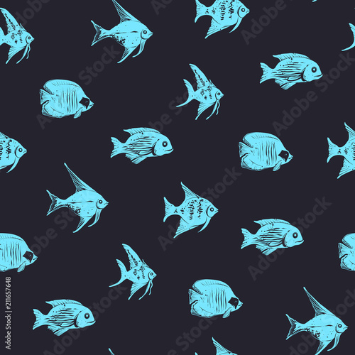 Photo Hand drawh Vector Seamless Pattern with Sea Fishes on a Black Background