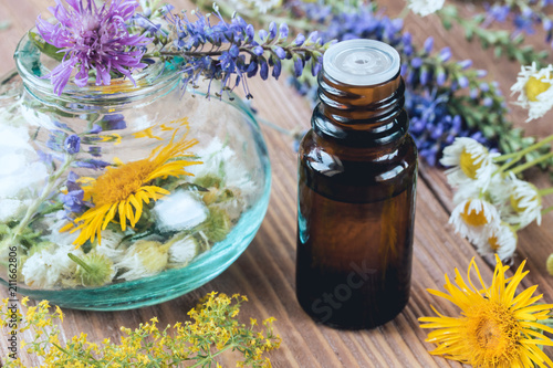 Fotografie, Obraz  Aromatherapy with essential oils from citrus herbs and flowers.